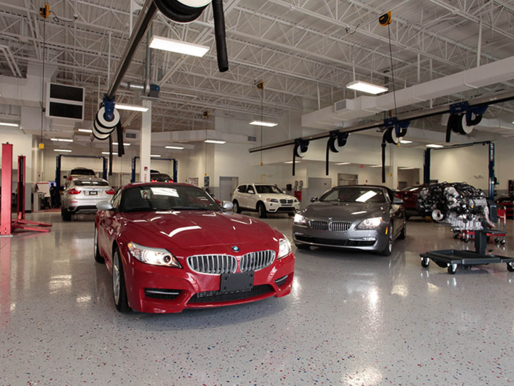Red and grey BMW car in the BMW lab